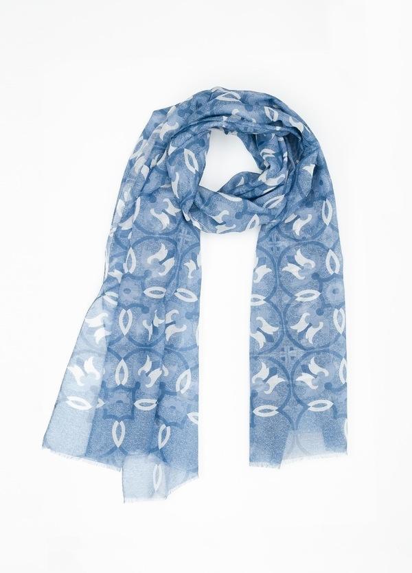 Foulard estampado etnico color azul,70 x 200 cm, 93% algodón, 7% cashmere.