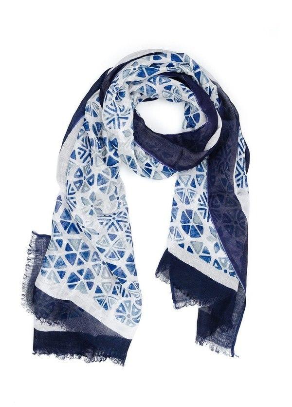 Foulard estampado étnico color azul, 70 x 190 cm, 55% Lino 45% Viscosa.