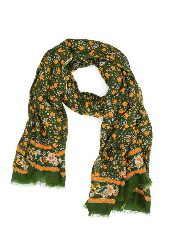 Foulard estampado floral modelo GIGLIO color verde, 63% Algodón 37% Seda.