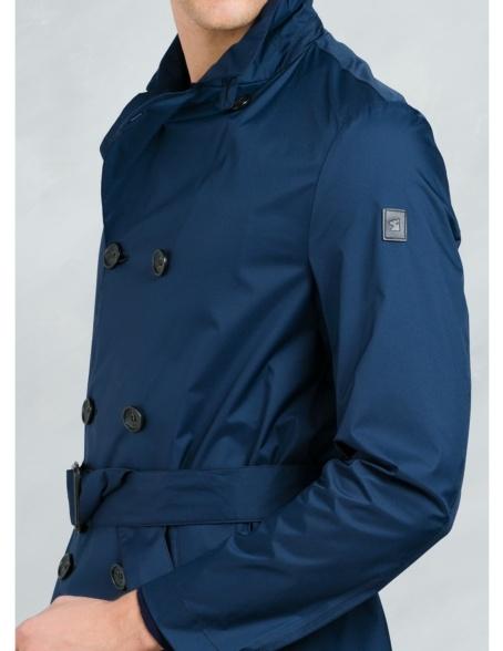 Gabardina corta cruzada con botones y cinturón , color azul. - Ítem3