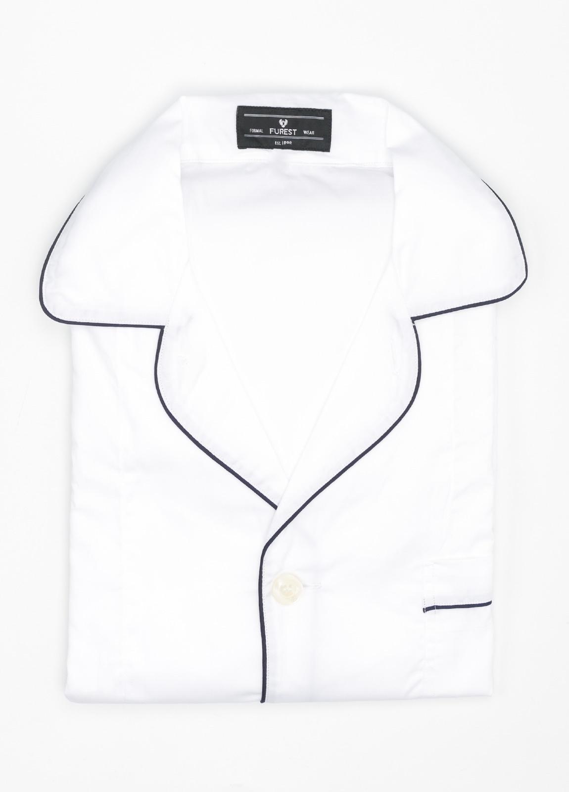 Pijama LARGO dos piezas, pantalón largo con cinta no elástica y funda incluida color blanco liso, 100% Algodón.