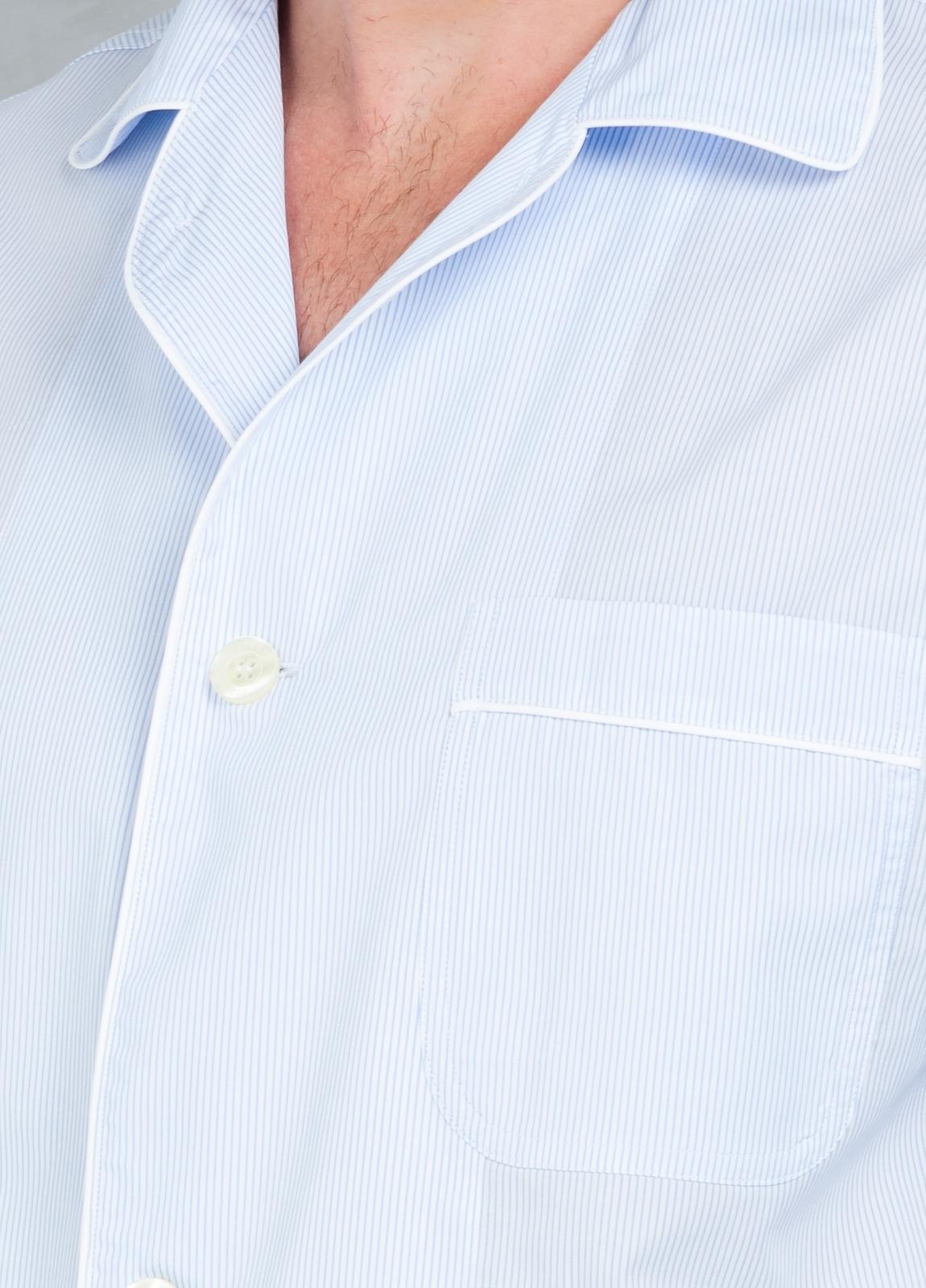 Pijama LARGO dos piezas, pantalón largo con cinta no elástica y funda incluida color celeste con micro rayas , 100% Algodón. - Ítem3