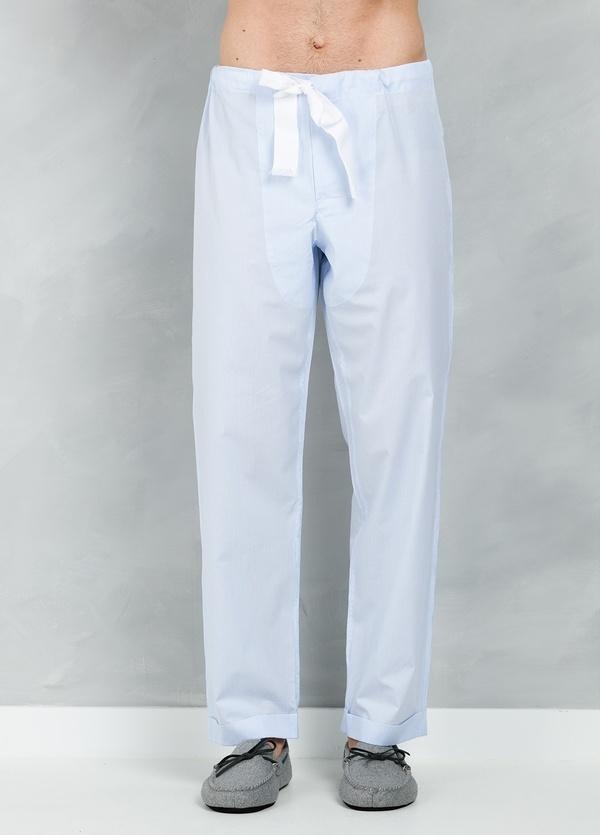 Pijama LARGO dos piezas, pantalón largo con cinta no elástica y funda incluida color celeste con micro rayas , 100% Algodón. - Ítem1