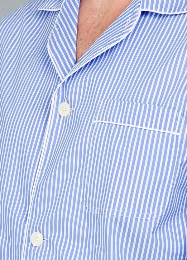 Pijama LARGO dos piezas, pantalón largo con cinta no elástica y funda incluida color azul con estampado de rayas, 100% Algodón. - Ítem1