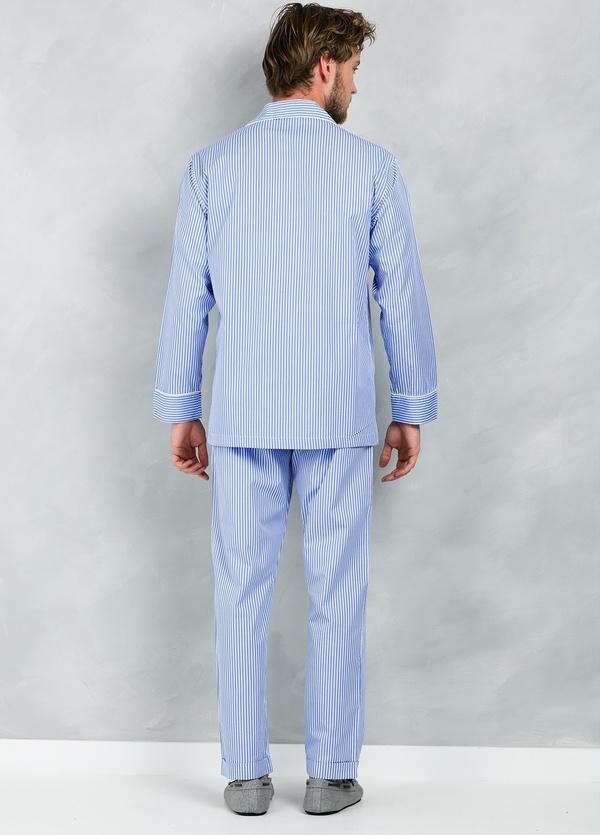 Pijama LARGO dos piezas, pantalón largo con cinta no elástica y funda incluida color azul con estampado de rayas, 100% Algodón. - Ítem2