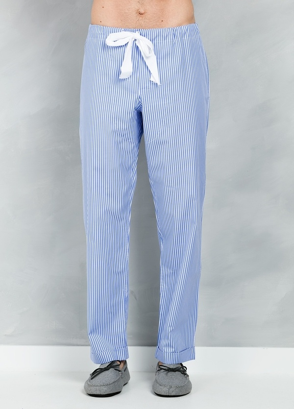 Pijama LARGO dos piezas, pantalón largo con cinta no elástica y funda incluida color azul con estampado de rayas, 100% Algodón. - Ítem3