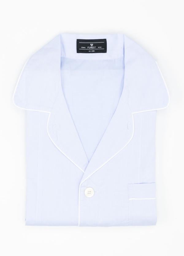 Pijama LARGO dos piezas, pantalón largo con cinta no elástica y funda incluida color celeste liso, 100% Algodón.
