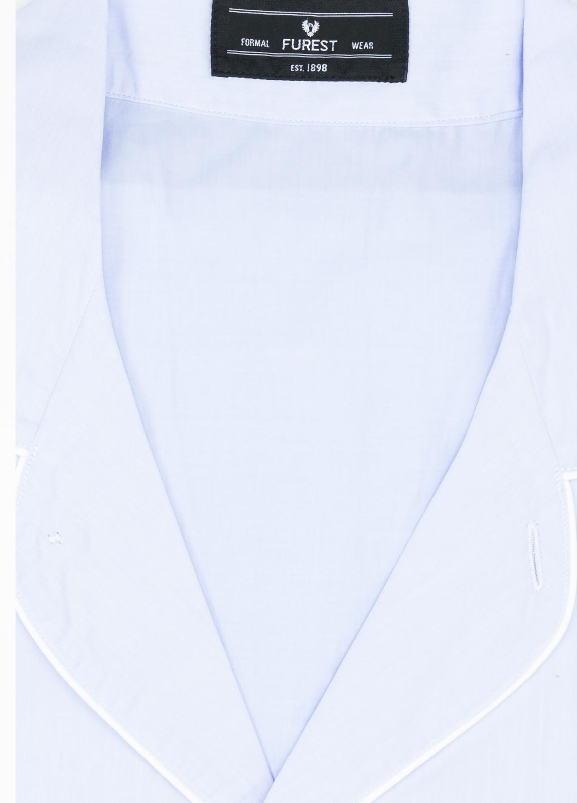 Pijama LARGO dos piezas, pantalón largo con cinta no elástica y funda incluida color celeste liso, 100% Algodón. - Ítem1