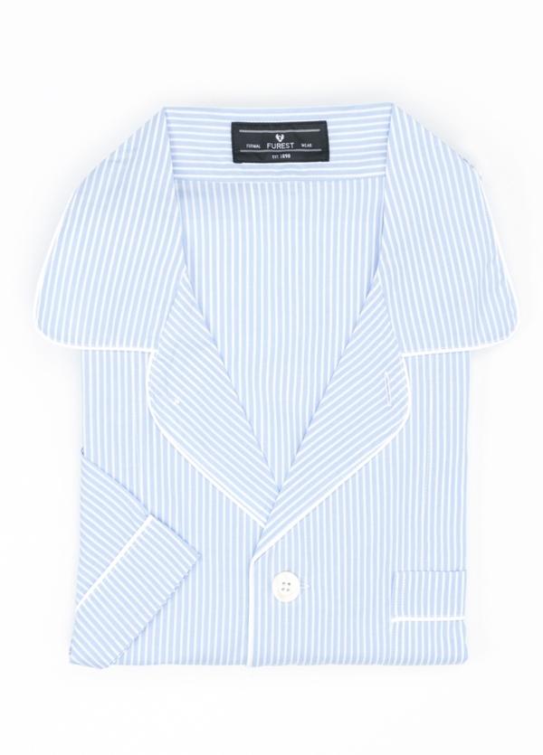 Pijama CORTO dos piezas, pantalón corto con cinta elástica y funda incluida color celeste con estampado de rayas, 100% Algodón.