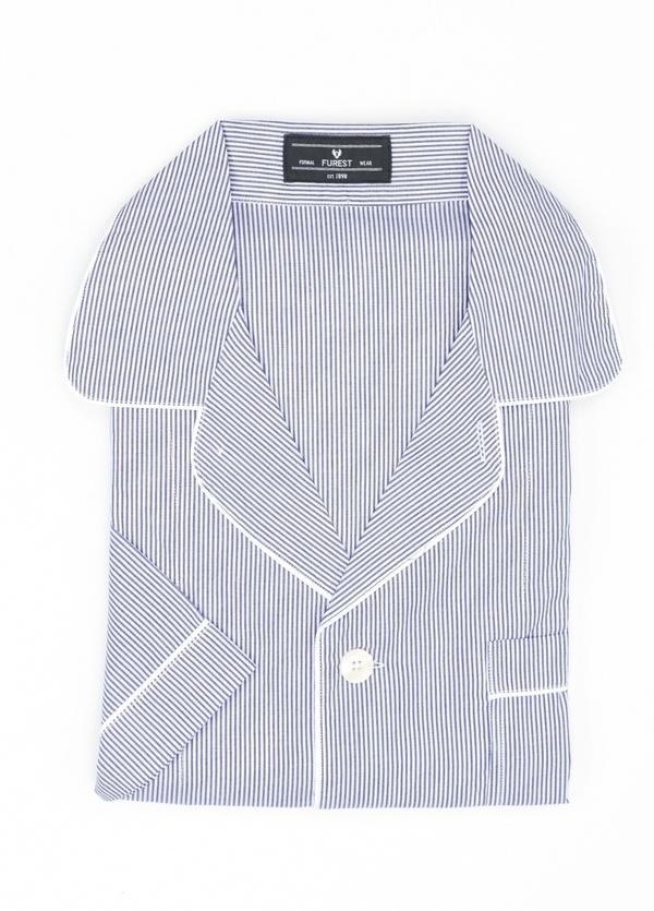 Pijama CORTO dos piezas, pantalón corto con cinta elástica y funda incluida color azul con estampado de rayas, 100% Algodón.