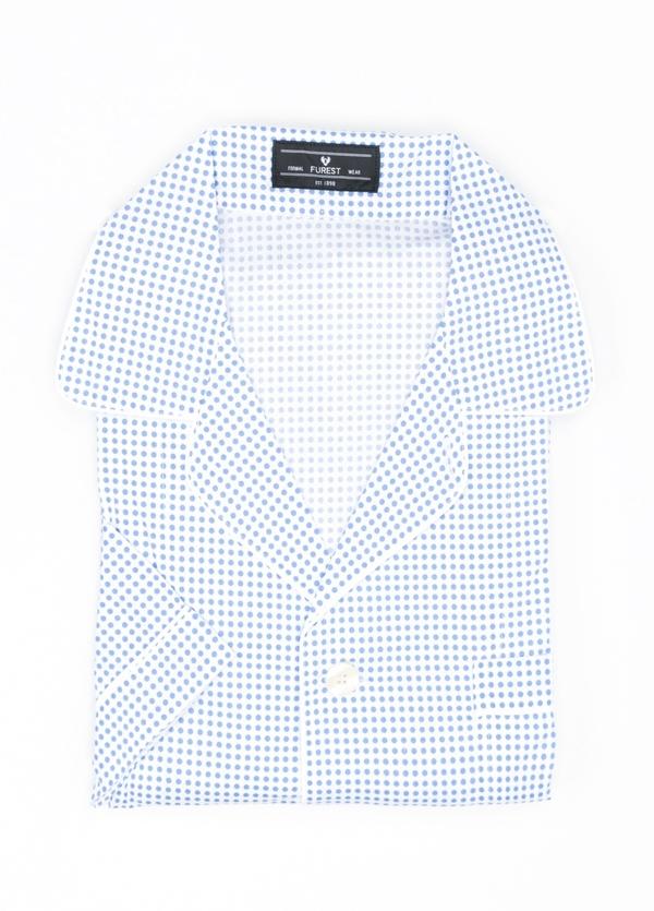Pijama CORTO dos piezas, pantalón corto con cinta elástica y funda incluida color azul con estampado de topos, 100% Algodón.
