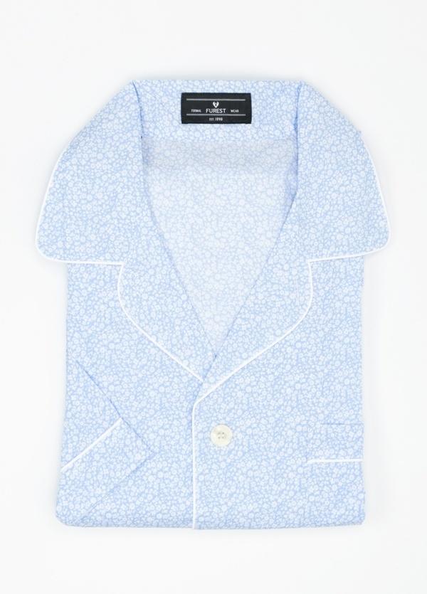 Pijama CORTO dos piezas, pantalón corto con cinta elástica y funda incluida color azul con estampado floral, 100% Algodón.
