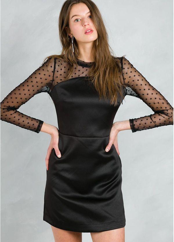 Vestido woman corto satinado y mangas de gasa con detalles, color negro.