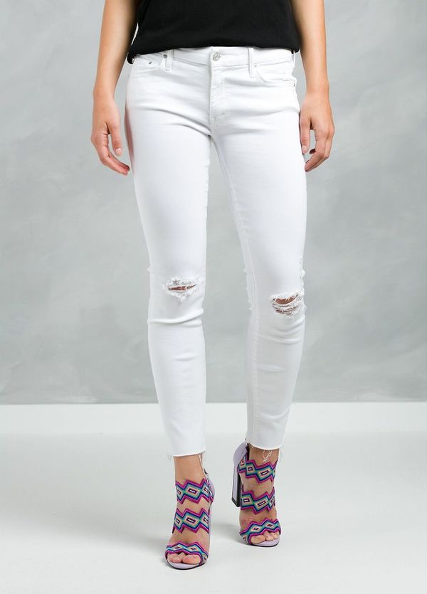 Pantalón tejano woman RIPPED KNEE JEANS color blanco.