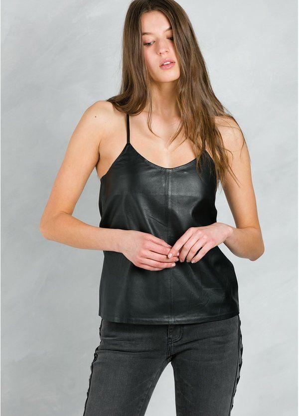 Top woman de tirantes y espalda racer style modelo EOLUS color negro, 100% Piel.