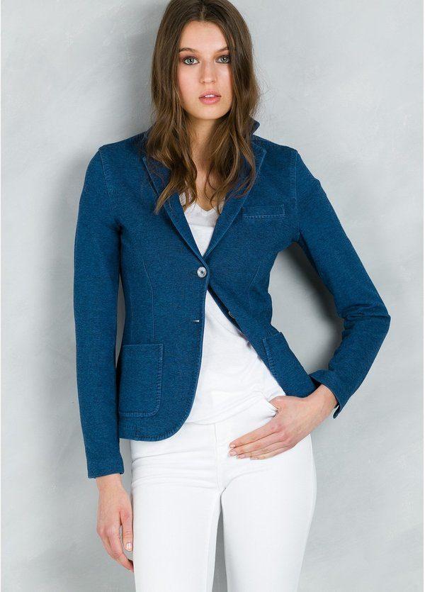 Americana woman SLIM FIT textura, color azul.