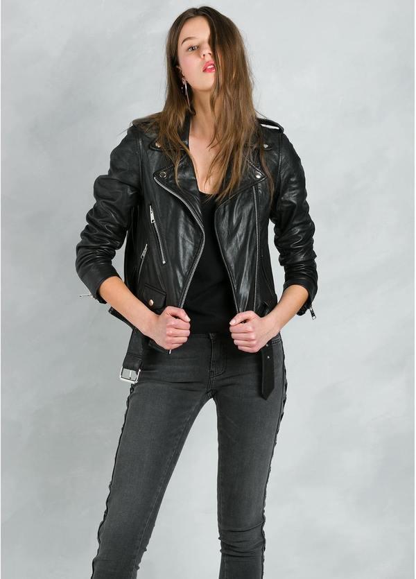 Chaqueta de piel estilo motero modelo MITCHELL con cremalleras y cinturón color negro, 100% Piel.