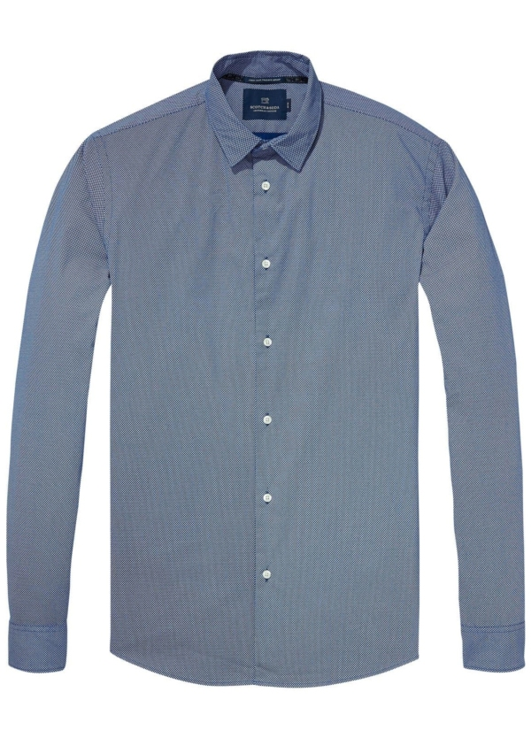 Camisa slim fit de algodón elástico color azul. 98% Algodón 2% Elastano.