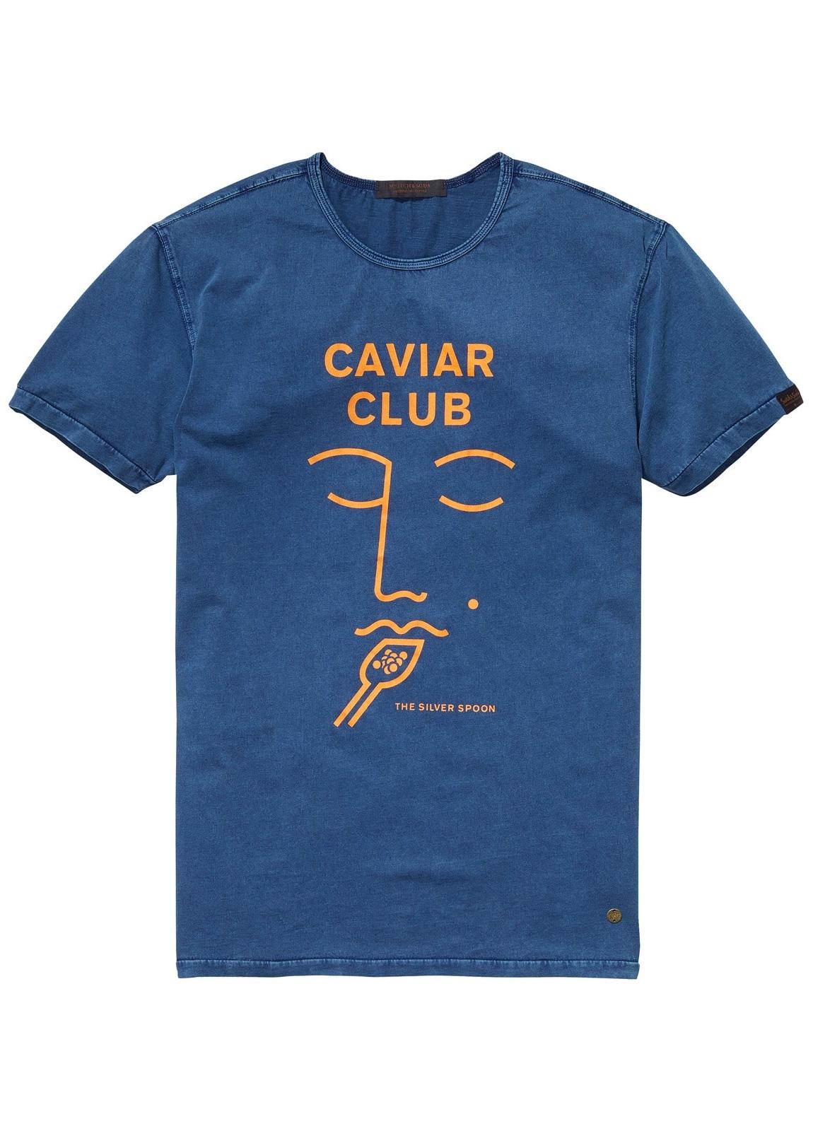 Camiseta estampada color azul. 97% Algodón 3% Elastano.