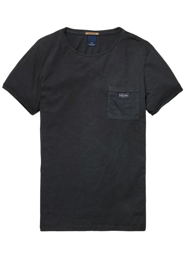 Camiseta manga corta color azul marino con bolsillo. 100% Algodón.