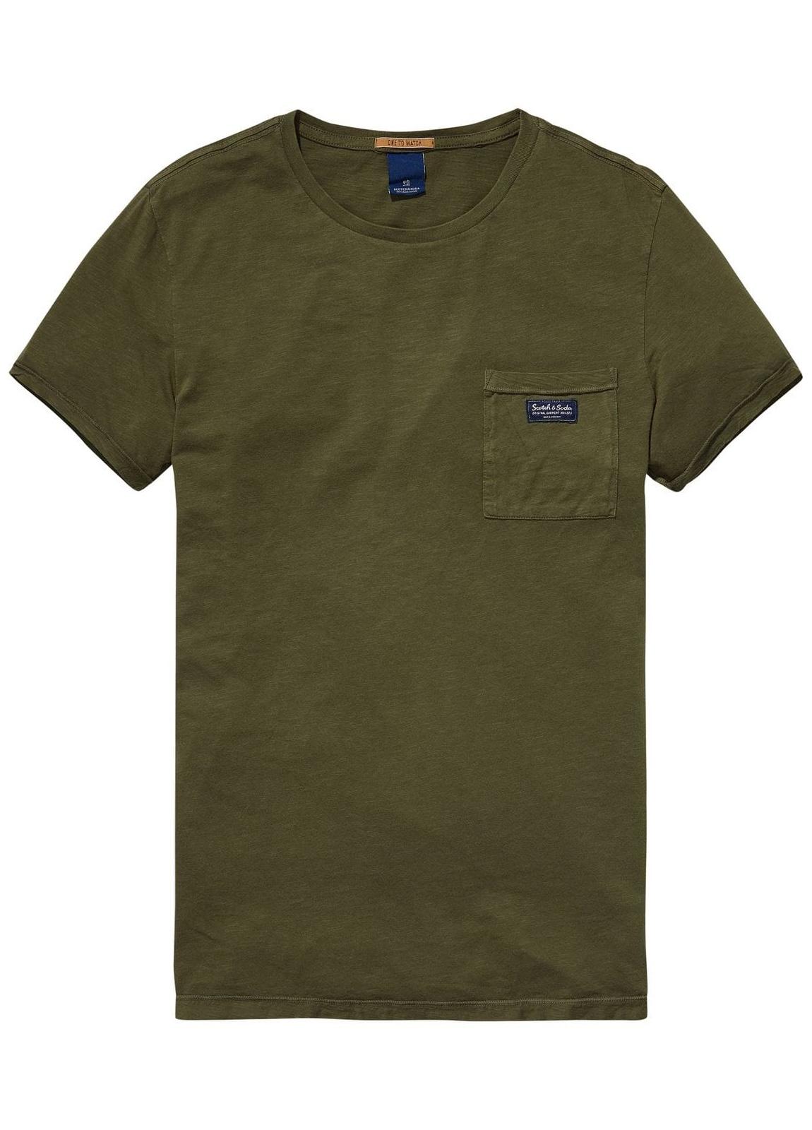 Camiseta manga corta color kaki con bolsillo. 100% Algodón.