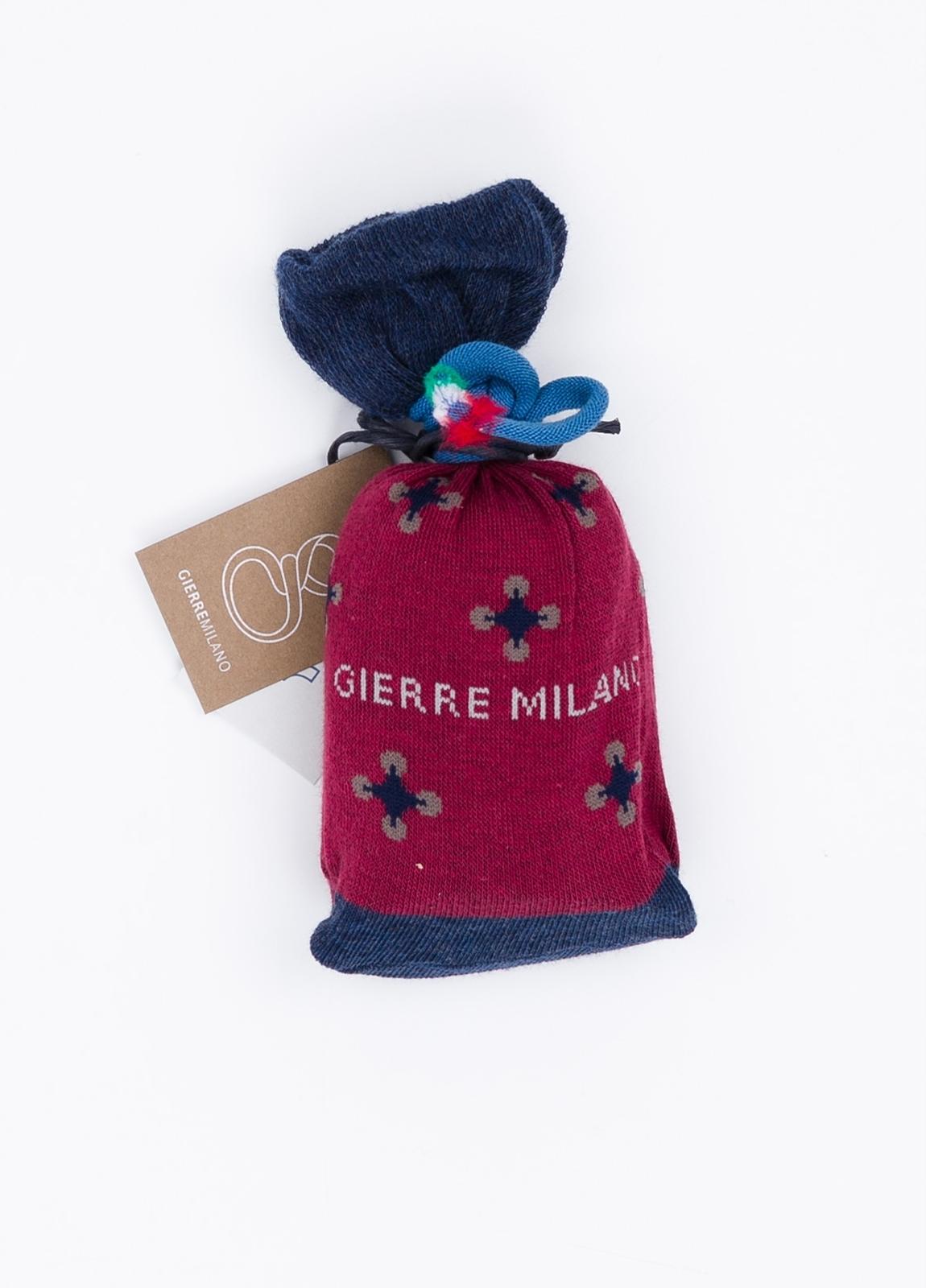 Calcetín corto de algodón con estampado de flores color granate. - Ítem1