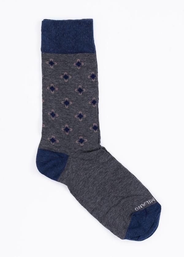Calcetín corto de algodón con estampado de flores color gris.