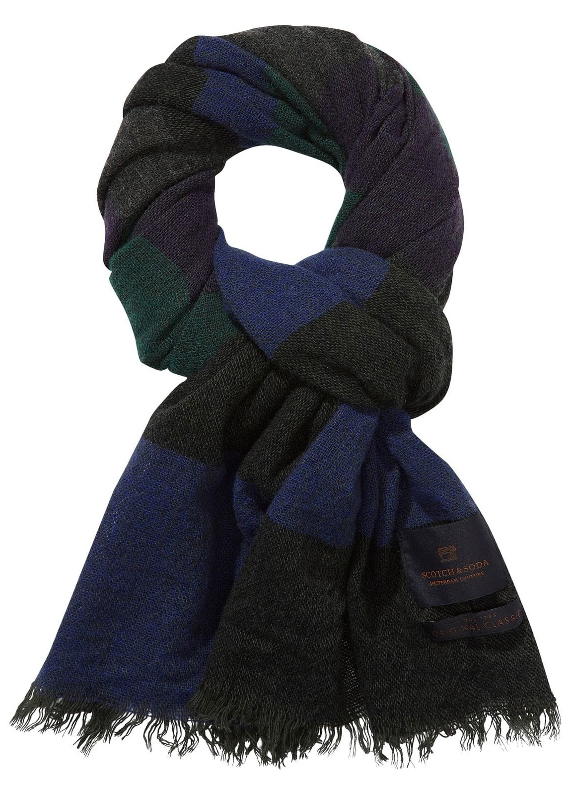 Bufanda ligera color azul 180 x 60 cm. 100% Lana