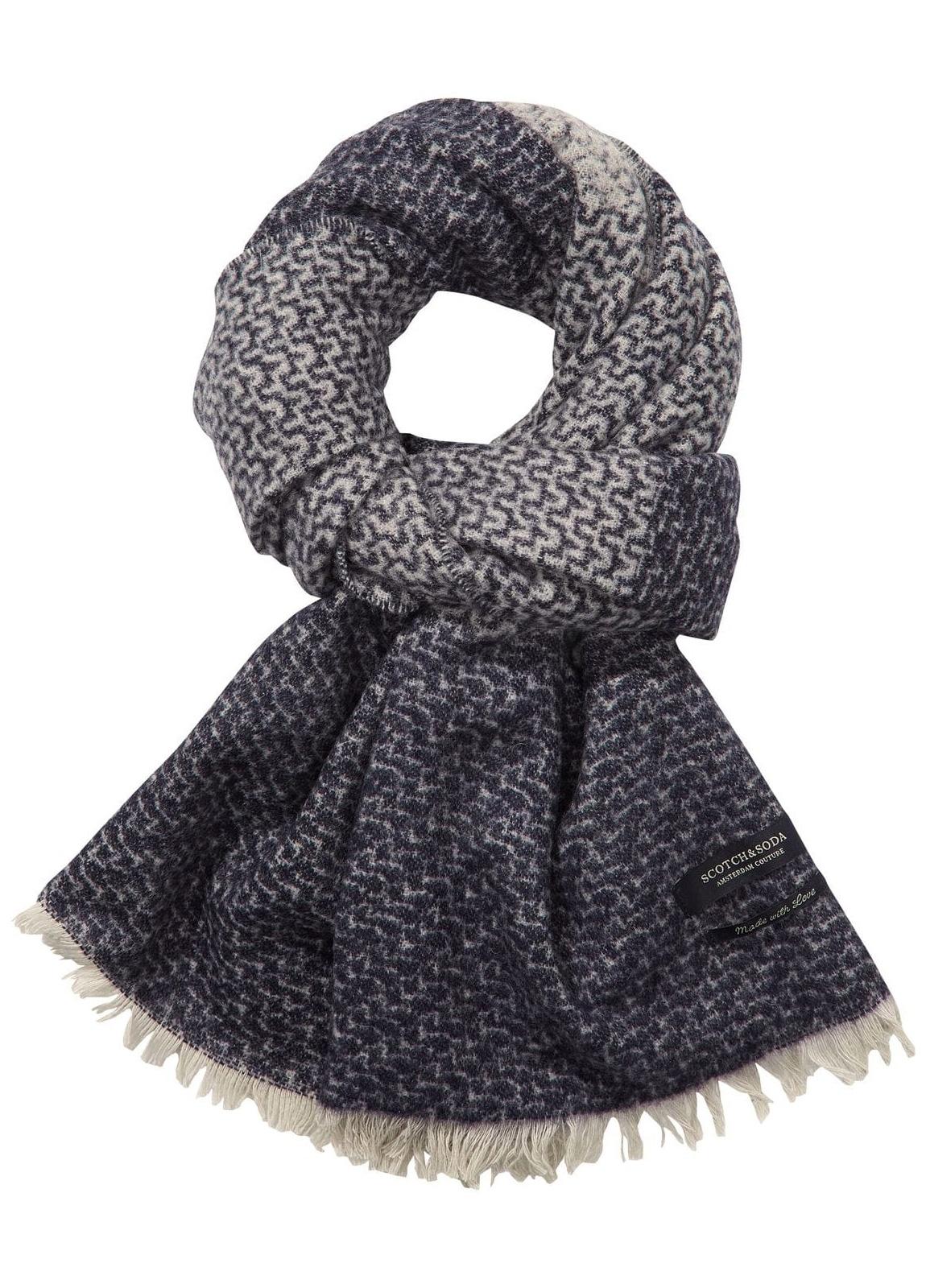 Bufanda combinada color azul 180 x 50 cm. 60% Lana 30% Algodón 10% Nylon.