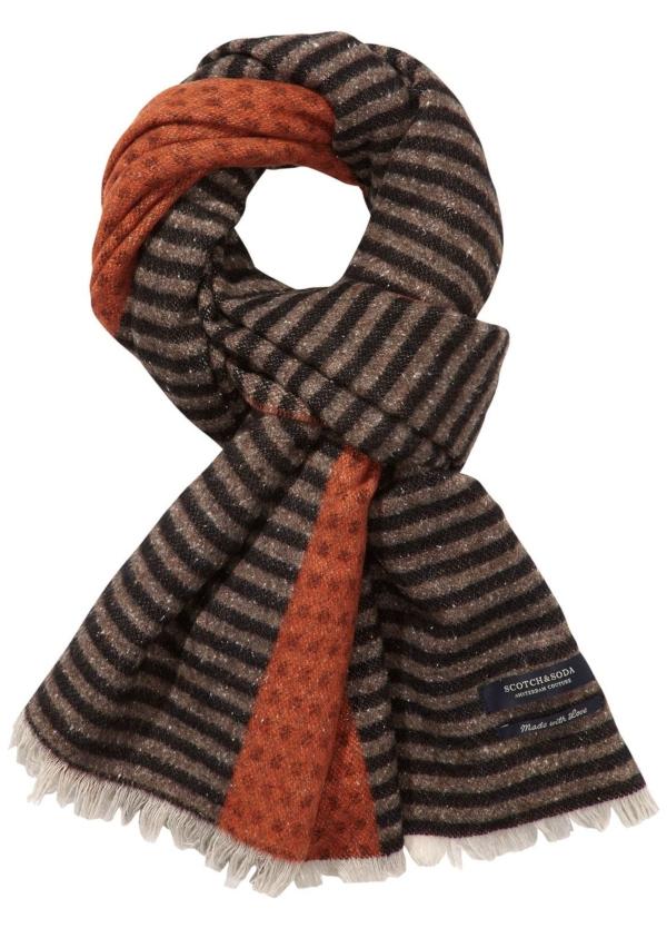 Bufanda combinada color marrón180 x 50 cm. 60% Lana 30% Algodón 10% Nylon.