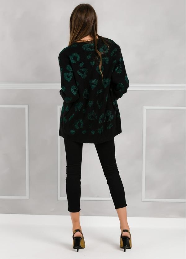 Chaqueta woman color negro con estampado leopardo color verde. - Ítem1