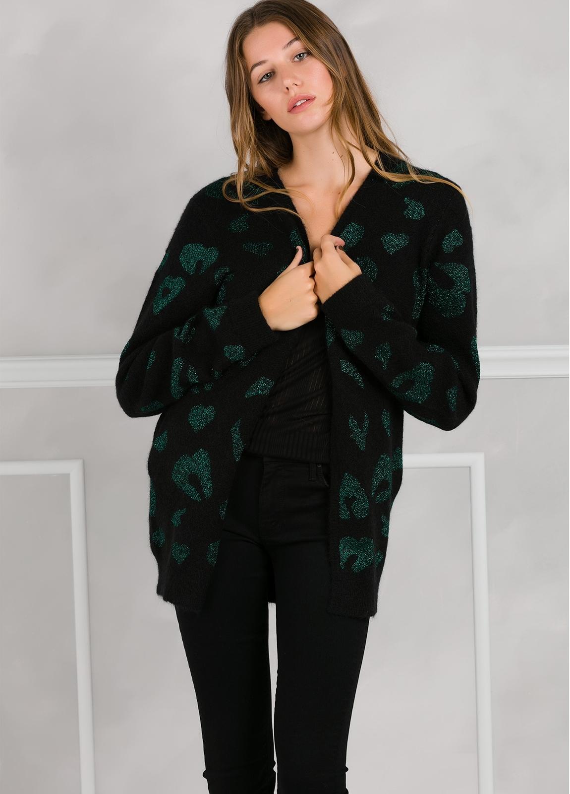 Chaqueta woman color negro con estampado leopardo color verde. - Ítem3