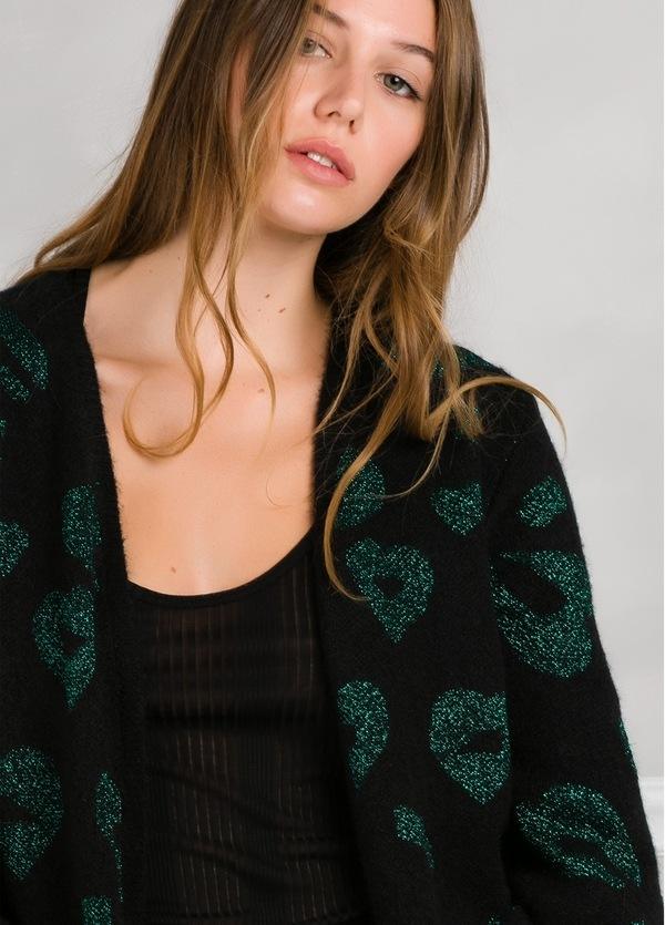 Chaqueta woman color negro con estampado leopardo color verde. - Ítem2
