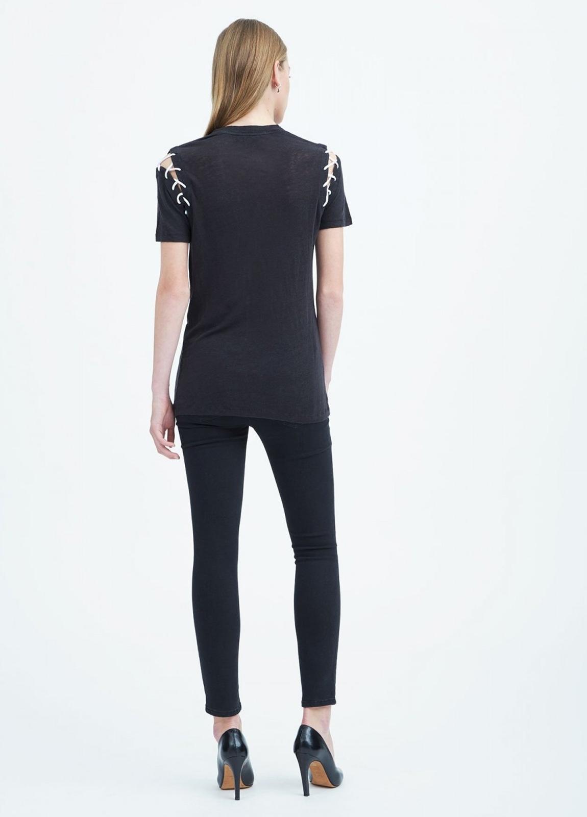 Camiseta manga corta woman color negro con cordones en hombros. 100% Lino. - Ítem2