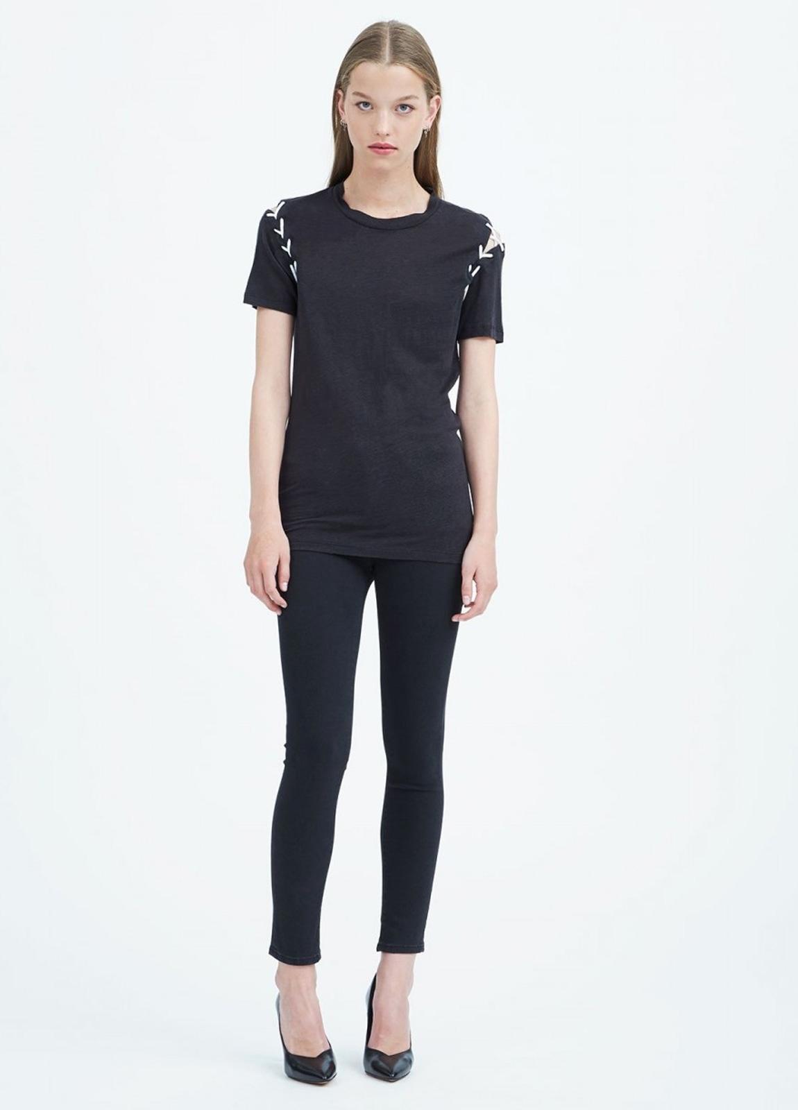 Camiseta manga corta woman color negro con cordones en hombros. 100% Lino. - Ítem3