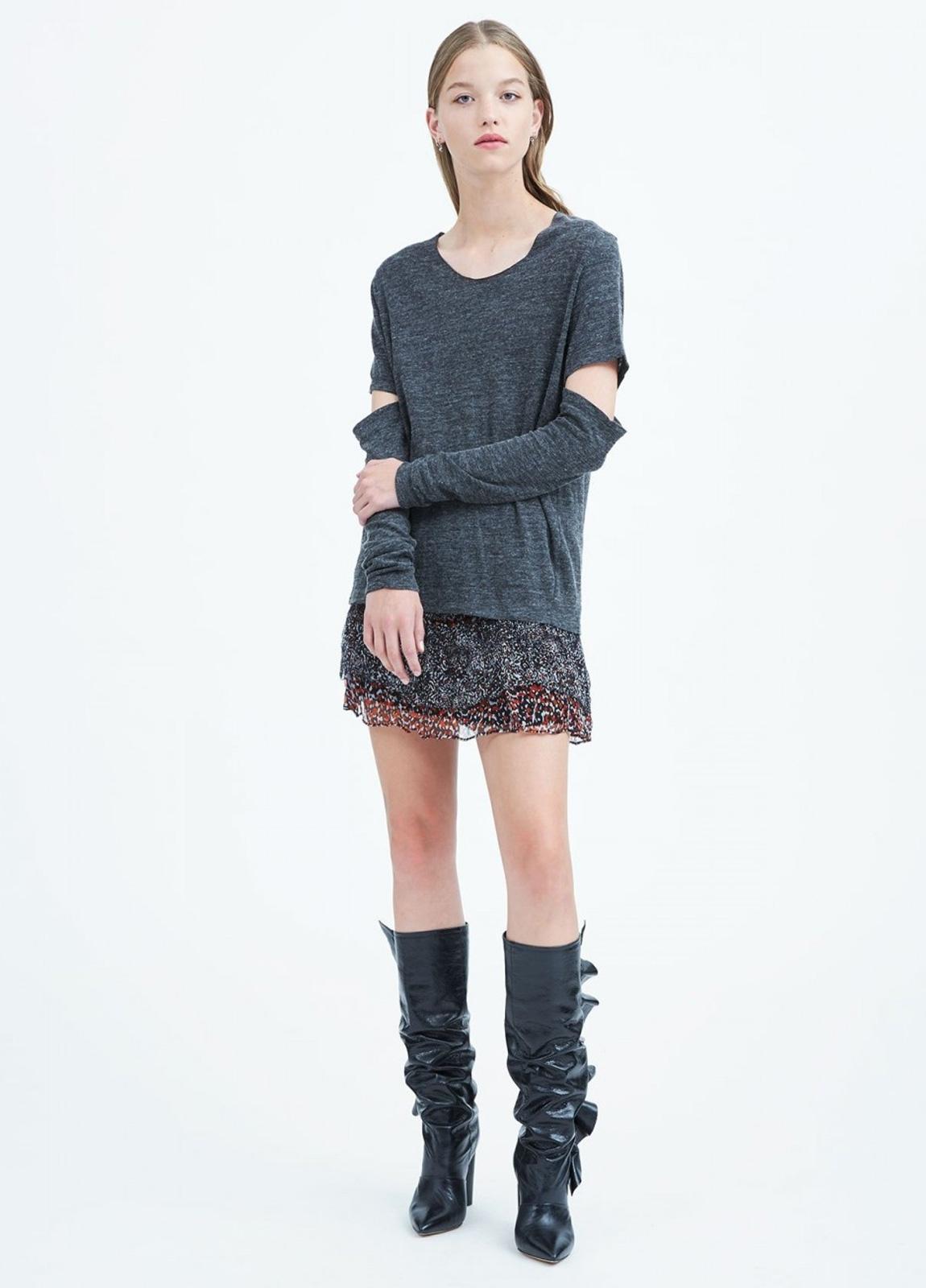 Camiseta woman manga larga color gris con abertura en codos. 63% Viscosa 28% Lana 9% Poliamida. - Ítem3