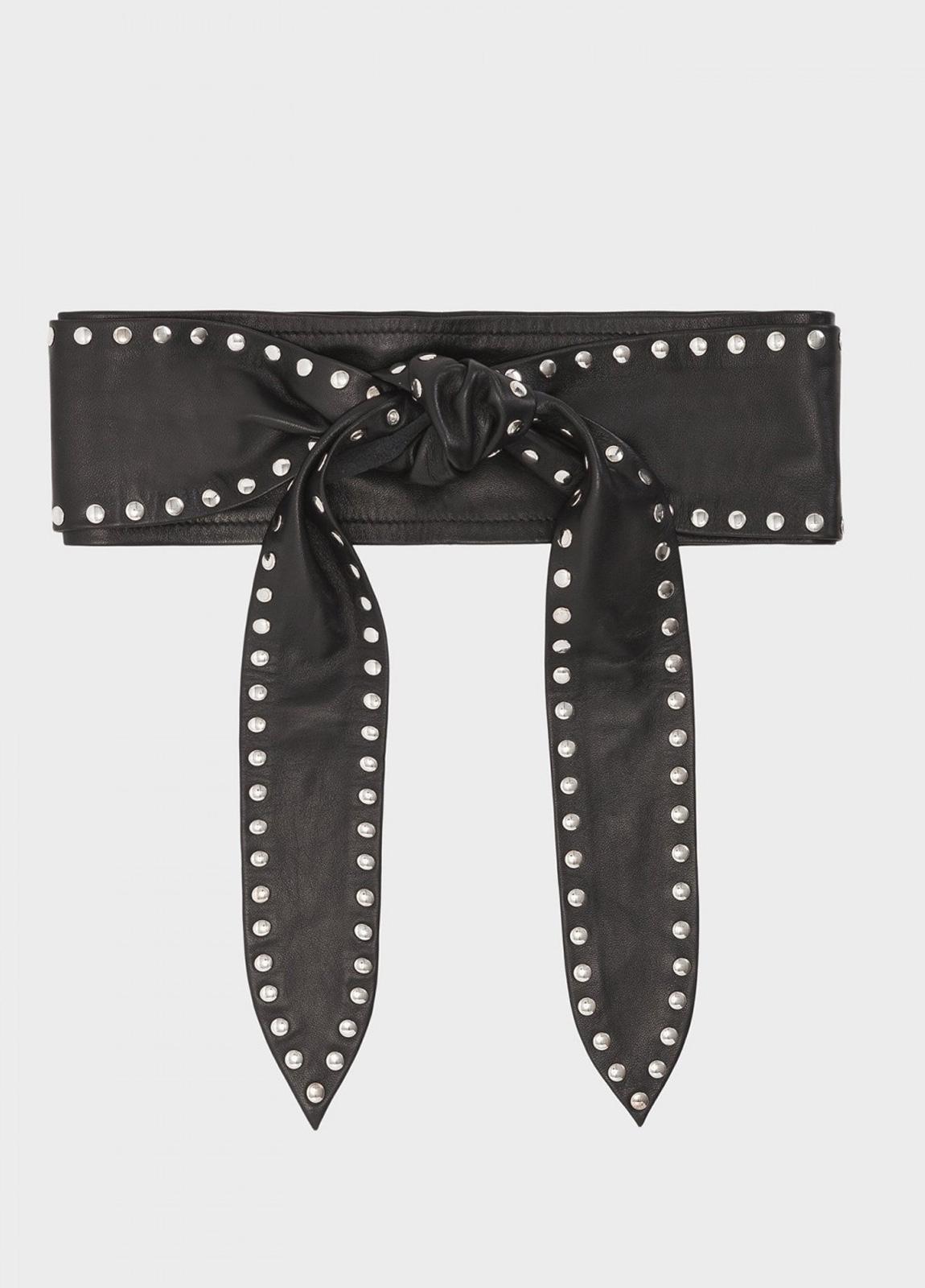 Cinturón negro con lazada y tachuelas. 100% piel.