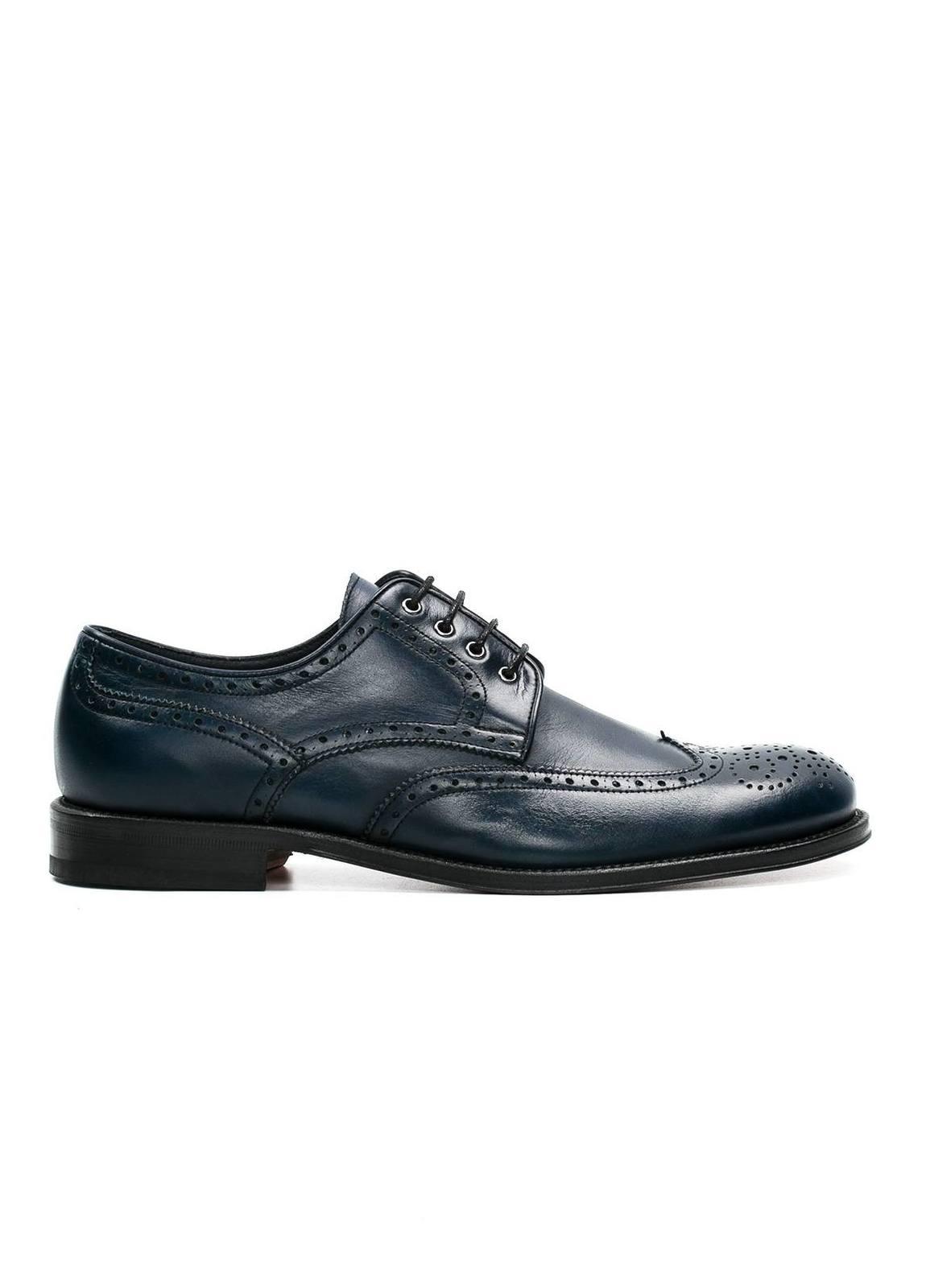 Zapato Formal Wear color azul marino con detalles troquelados, 100% Piel.