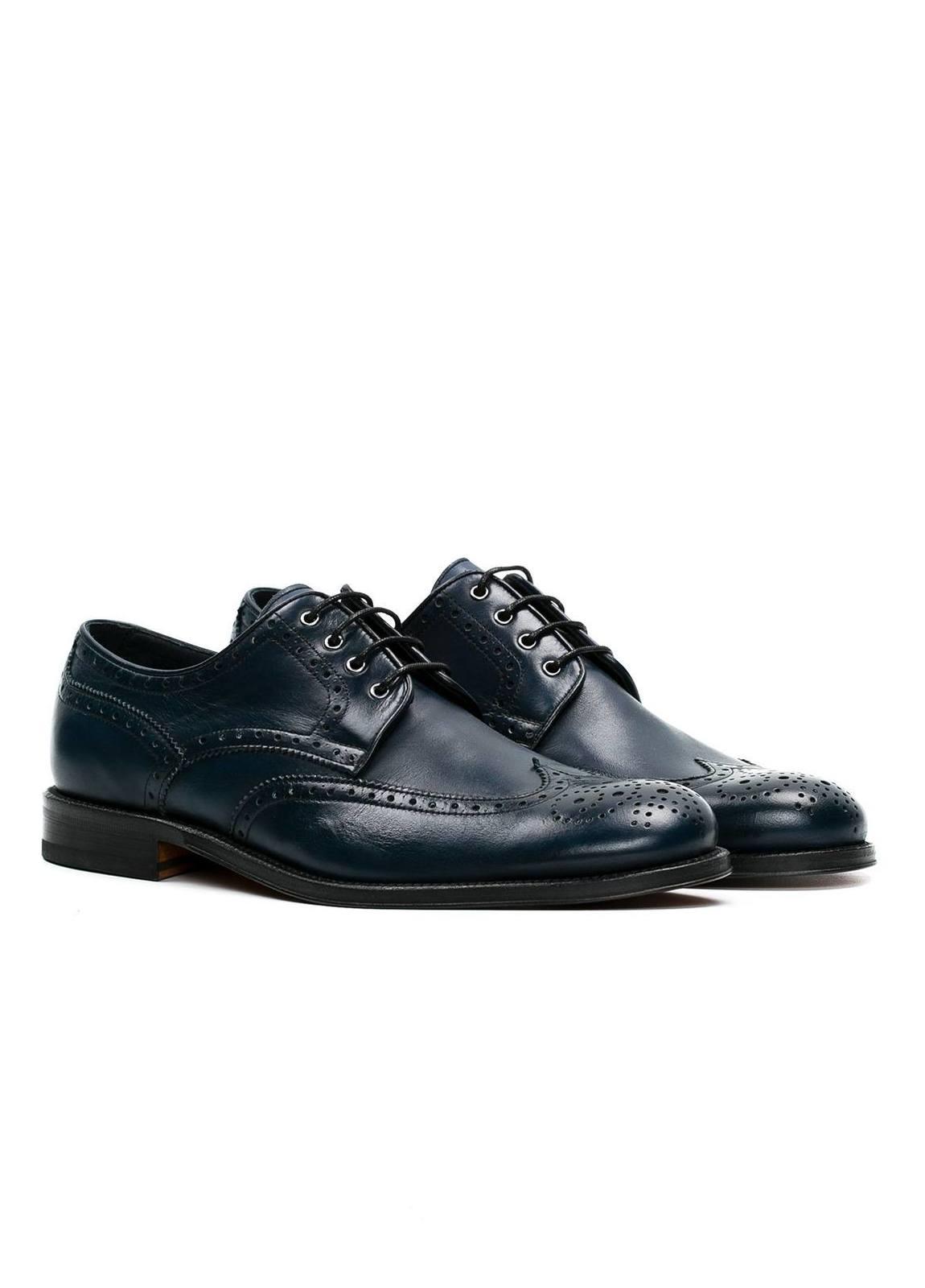 Zapato Formal Wear color azul marino con detalles troquelados, 100% Piel. - Ítem2