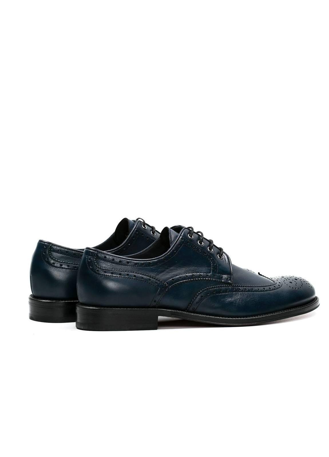 Zapato Formal Wear color azul marino con detalles troquelados, 100% Piel. - Ítem3
