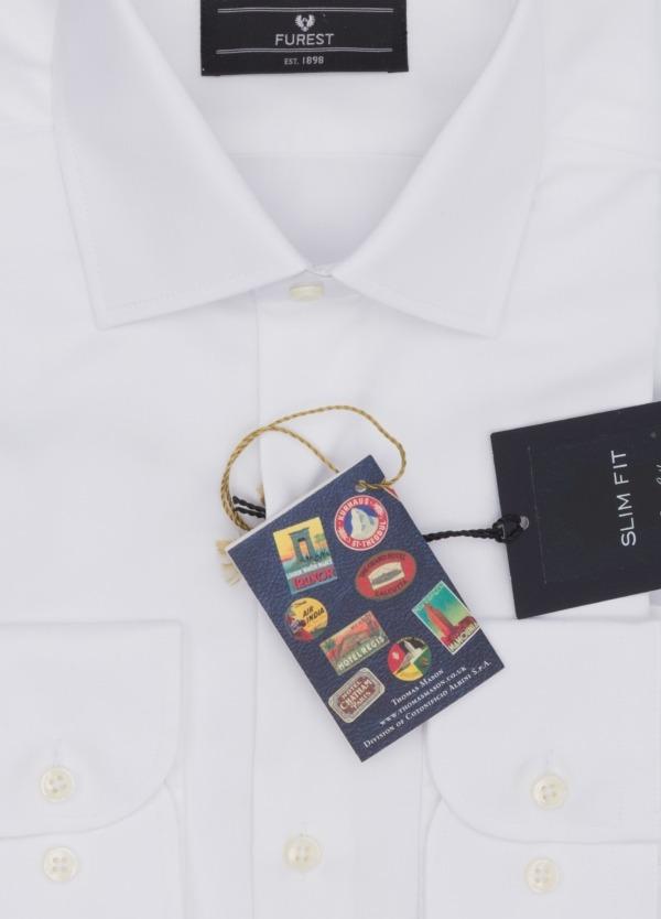 Camisa Formal Wear SLIM FIT cuello italiano modelo ROMA. Liso, color blanco. 100% Algodón Popelin. Fácil planchado. Tejido MASON-JOUANEY