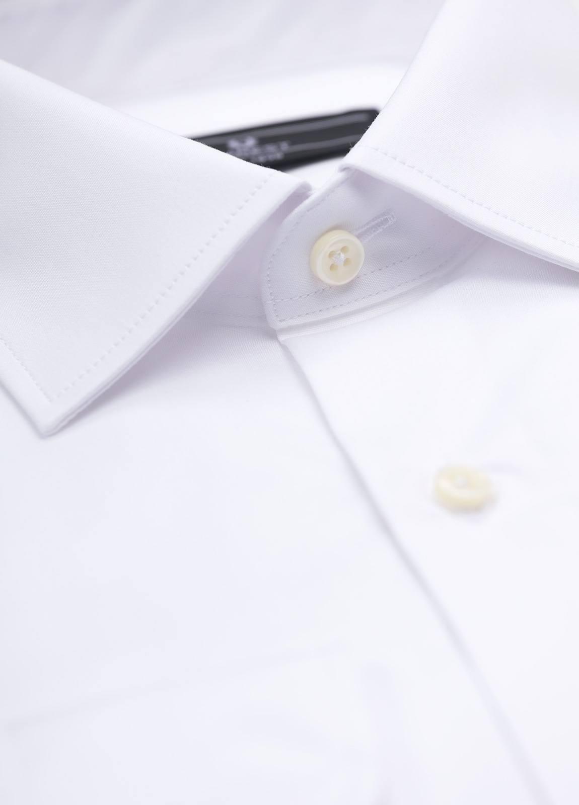 Camisa Formal Wear SLIM FIT cuello italiano modelo ROMA liso color blanco. 100% Algodón Popelin. Fácil planchado. - Ítem1