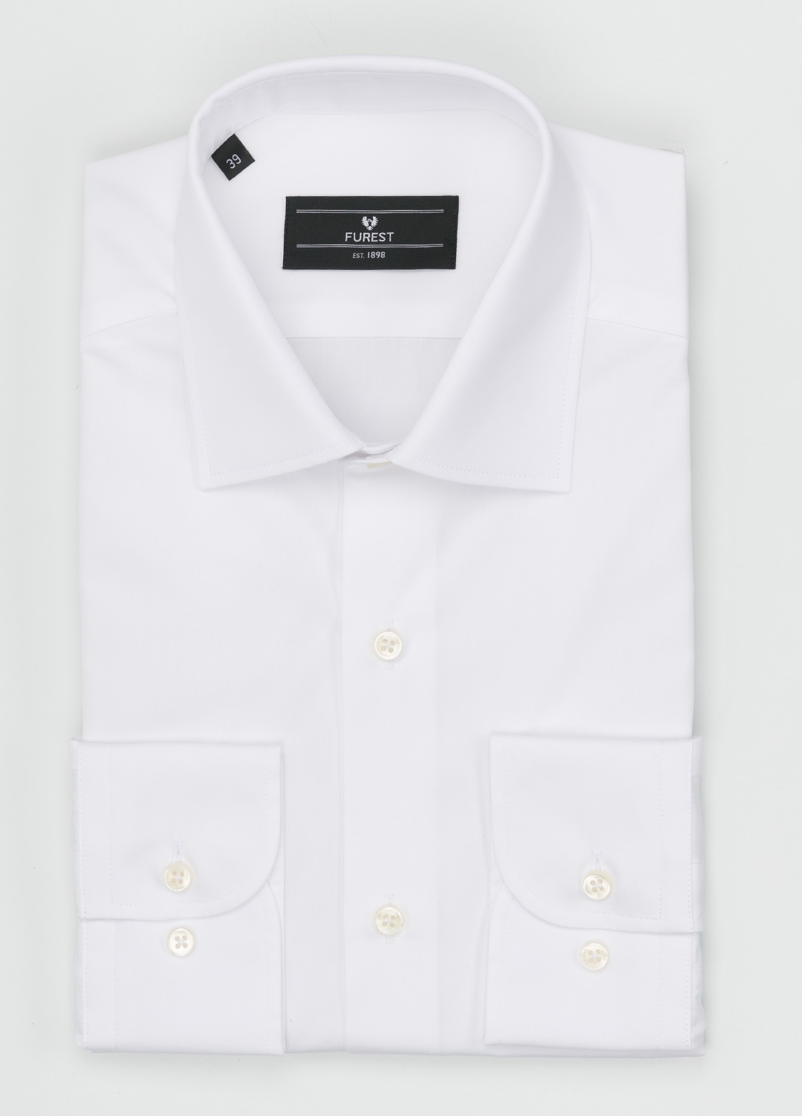 Camisa Formal Wear SLIM FIT cuello italiano modelo ROMA liso color blanco. 100% Algodón Popelin. Fácil planchado.