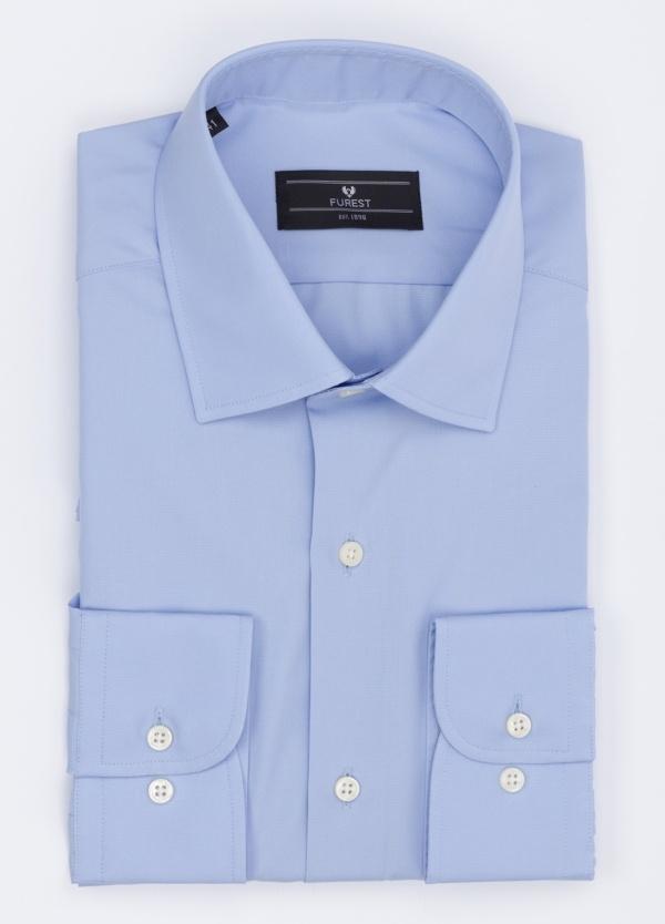 Camisa Formal Wear SLIM FIT cuello italiano modelo ROMA liso color azul. 100% Algodón Popelin. Fácil planchado.