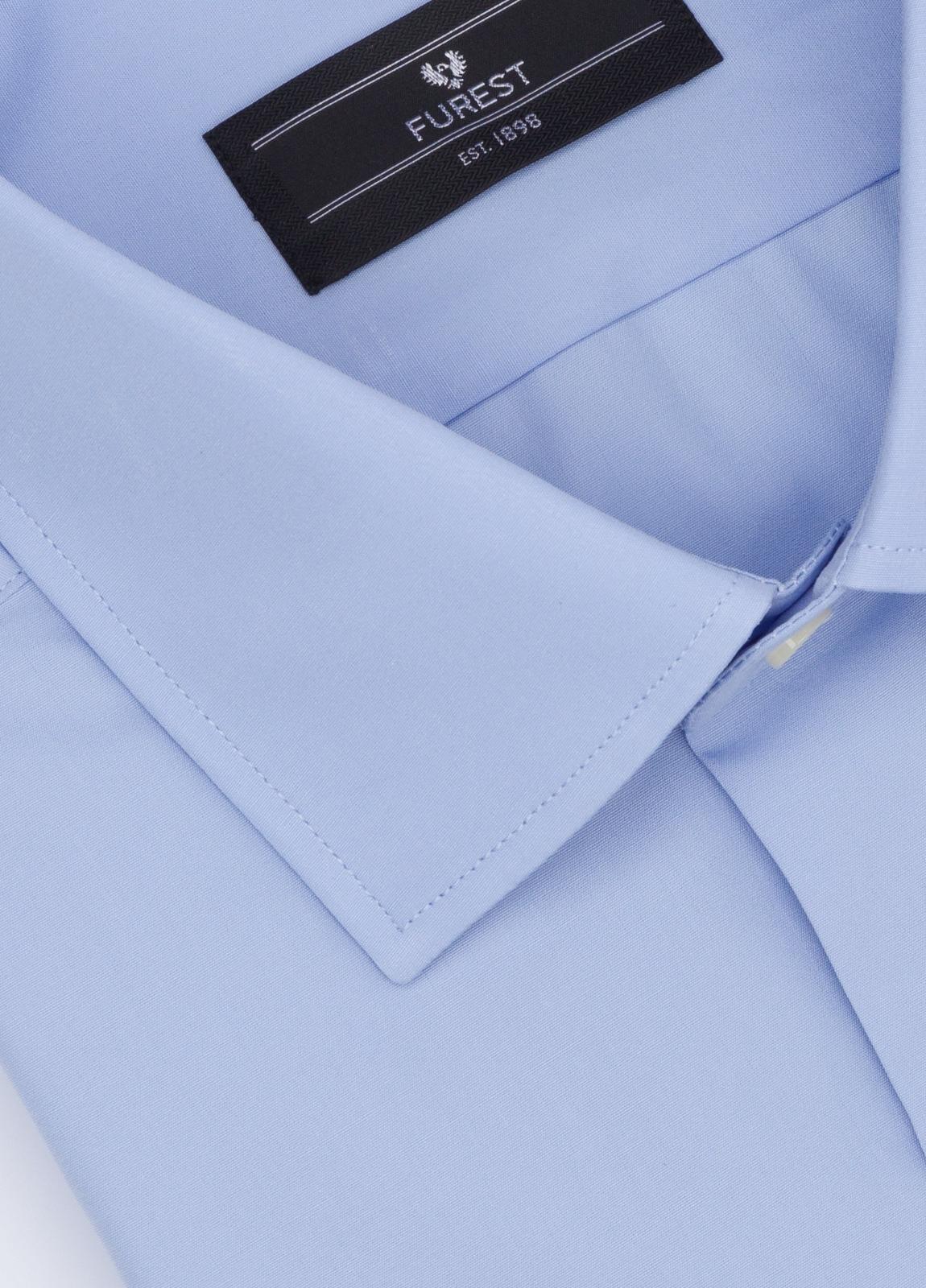 Camisa Formal Wear SLIM FIT cuello italiano modelo ROMA liso color azul. 100% Algodón Popelin. Fácil planchado. - Ítem1