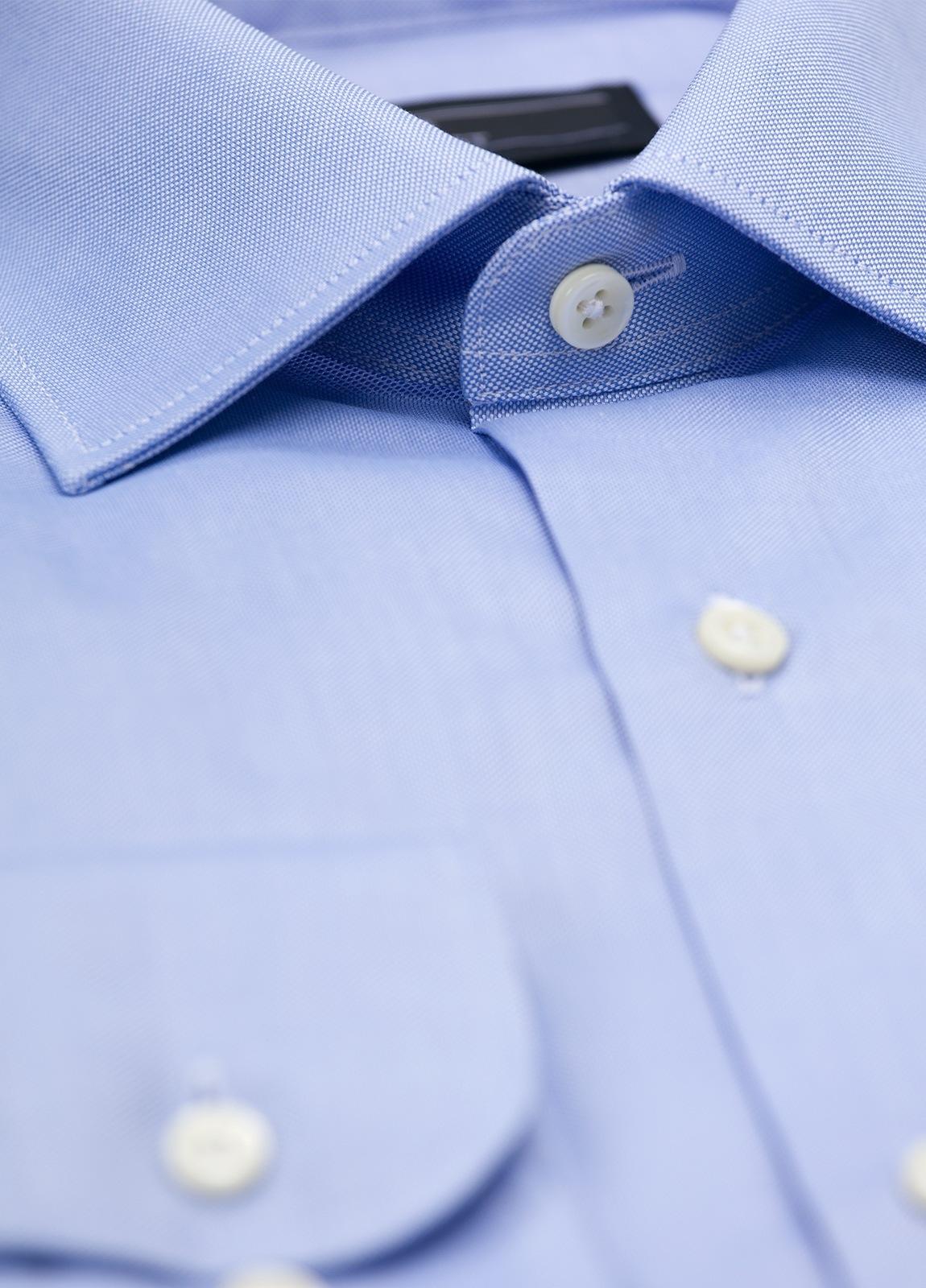 Camisa Formal Wear SLIM FIT cuello italiano modelo ROMA liso color celeste. 100% Algodón Pin Point. - Ítem1