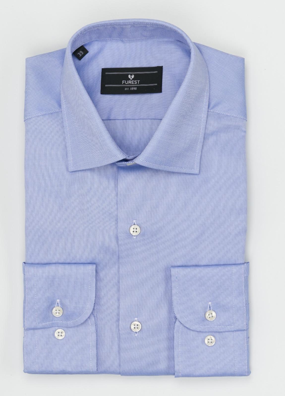 Camisa Formal Wear SLIM FIT cuello italiano modelo ROMA liso color celeste. 100% Algodón Pin Point.