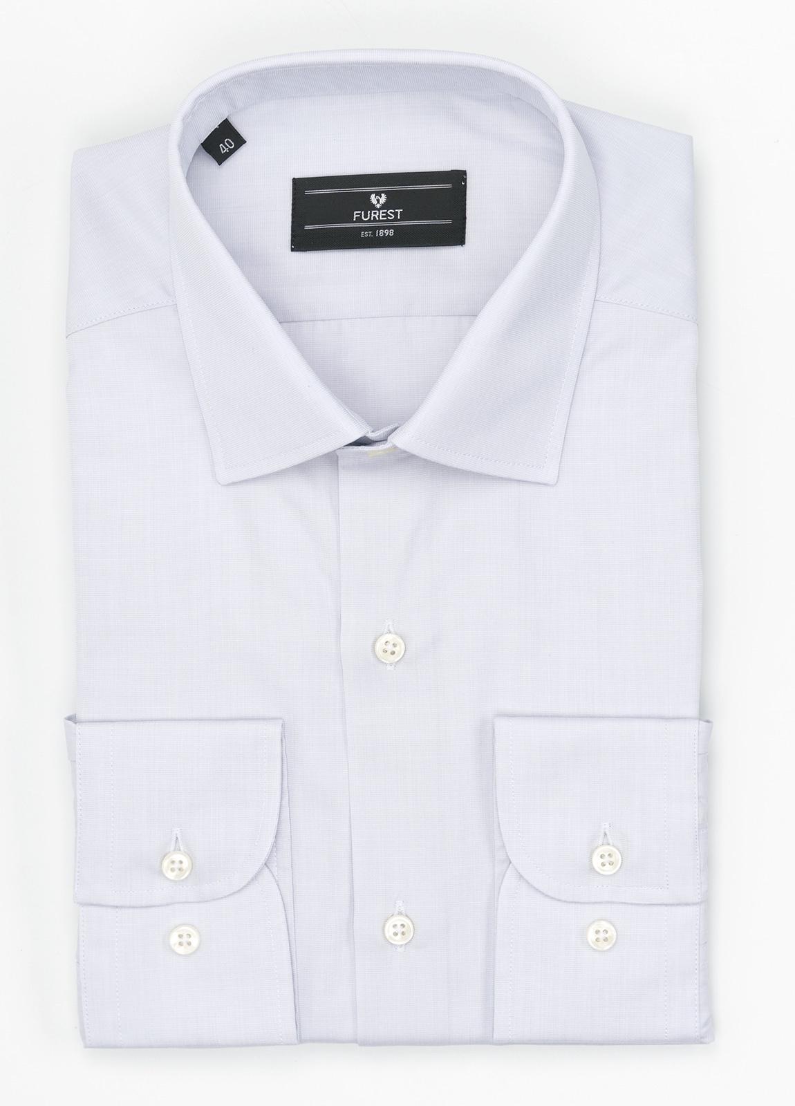Camisa Formal Wear SLIM FIT cuello italiano modelo ROMA. Raya fina color gris. 100% Algodón.