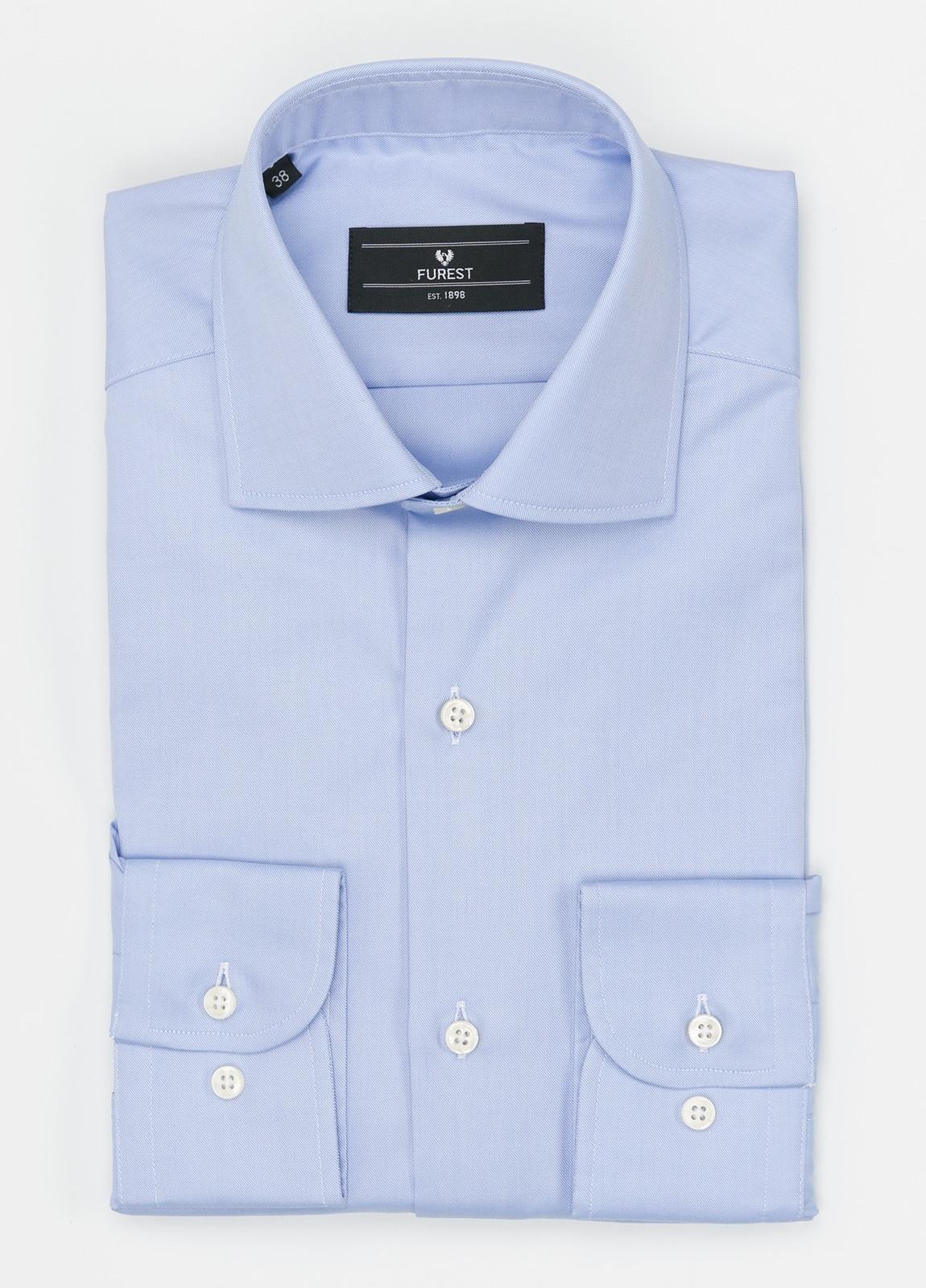 Camisa Formal Wear REGULAR FIT cuello italiano modelo TAILORED NAPOLI diseño liso color azul celeste. 100% Algodón. Fácil planchado.