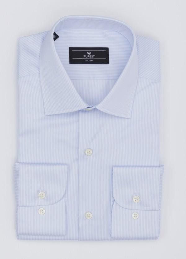 Camisa Formal Wear SLIM FIT cuello italiano modelo ROMA. Liso, color celeste. 100% Algodón Popelin. Fácil planchado. Tejido T.MASON